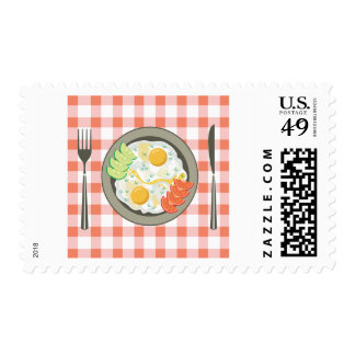 Fried Eggs On A Plate Postage