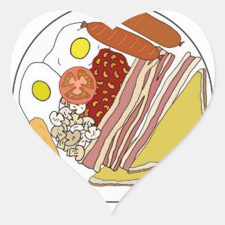 Fried English Breakfast Plate Heart Sticker