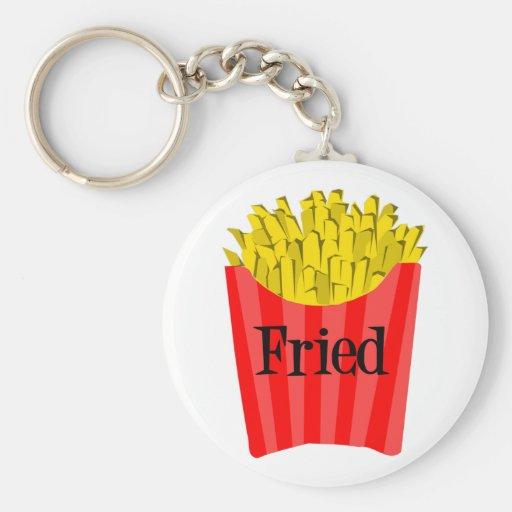 Fried Fries Basic Round Button Keychain