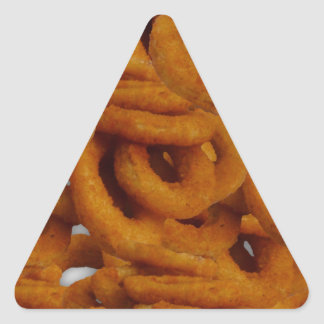 Fried Golden Onion Rings Photography Triangle Sticker