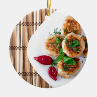 fried meatballs of minced chicken ceramic ornament
