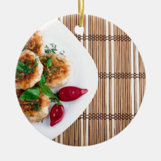 Fried meatballs of minced chicken with red pepper ceramic ornament