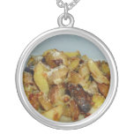 fried potatoes and onions with cheese 2 personalized necklace
