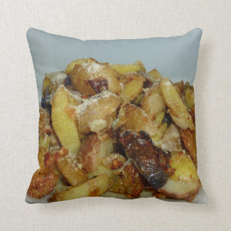 fried potatoes and onions with cheese 2 throw pillow