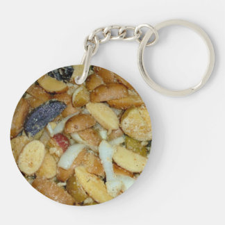 fried potatoes cheese onions food photo Double-Sided round acrylic keychain
