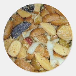 fried potatoes cheese onions food photo round sticker