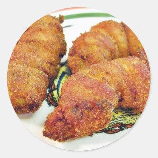 Fried Prawns Food Dinner Cooking Round Stickers