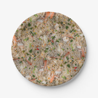 Fried Rice with Shrimp Paper Plate