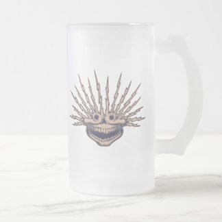 Fried Skull Frosted Glass Beer Mug