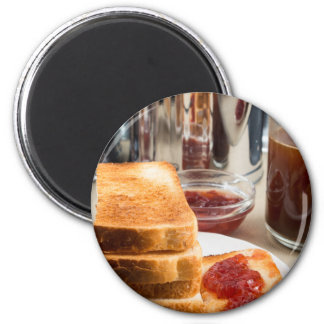 Fried toast with strawberry jam magnet