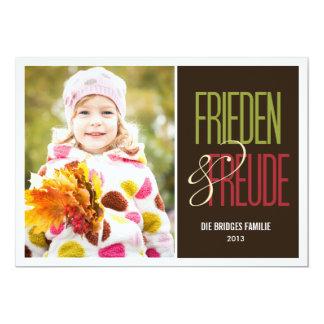 Frieden y Freude Feiertagsfotokarten Invitacion Personalizada