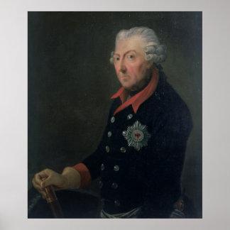 Friedrich el grande llevando el uniforme póster