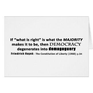 Friedrich Hayek Quote Democracy & Demagoguery Greeting Card