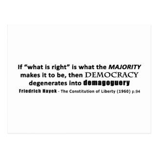Friedrich Hayek Quote Democracy & Demagoguery Postcard