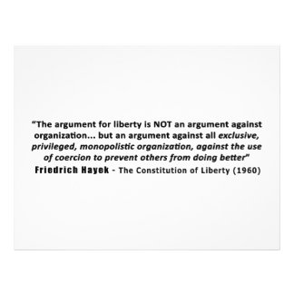 Friedrich Hayek Quote The Argument for Liberty Personalized Letterhead