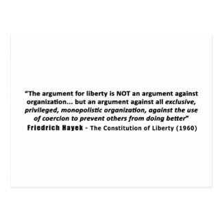Friedrich Hayek Quote The Argument for Liberty Postcard