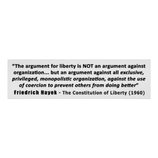 Friedrich Hayek Quote The Argument for Liberty Poster