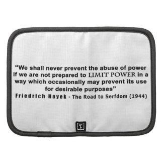 Friedrich Hayek Road to Serfdom Limit Power Quote Organizers