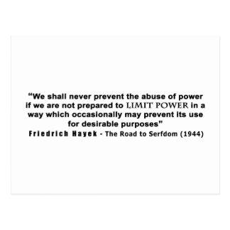 Friedrich Hayek Road to Serfdom Limit Power Quote Postcard