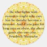 Friedrich Nietzsche - cita profunda Pegatina Redonda