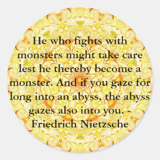 Friedrich Nietzsche - cita profunda Etiquetas Redondas