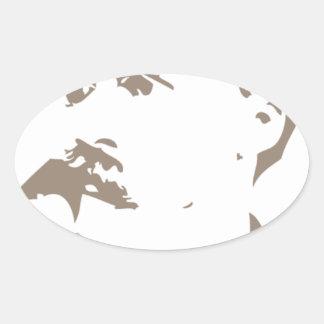 Friedrich Nietzsche Face Warm Gray Oval Sticker