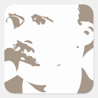 Friedrich Nietzsche hace frente a gris caliente Calcomania Cuadradas Personalizada