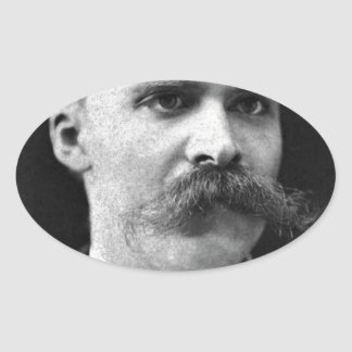 Friedrich Nietzsche original b&w photo Oval Sticker