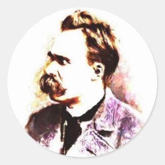 Friedrich Nietzsche Pegatina Redonda