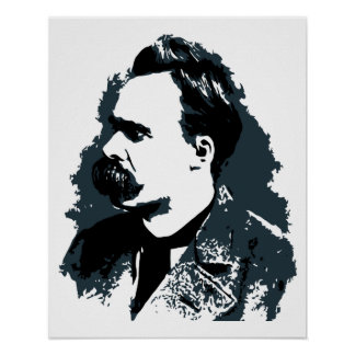 Friedrich Nietzsche portrait vector drawing Poster