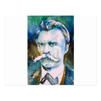 friedrich nietzsche - watercolor portrait postcard