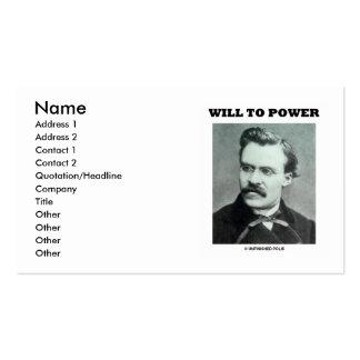 Friedrich Nietzsche Will To Power Business Card Template