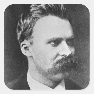 Friedrich Wilhelm Nietzsche (1844-1900) 1873 (b/w Pegatina Cuadrada