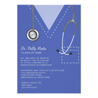 Friega la invitación médica azul de la graduación