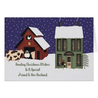 Friend And Her Husband Prim Farm Christmas Card