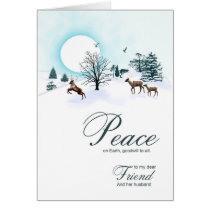 Friend and husband, Christmas scene with reindeer Card