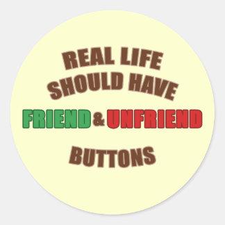 Friend and Unfriend Classic Round Sticker
