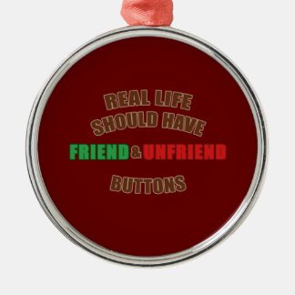 Friend and Unfriend Round Metal Christmas Ornament