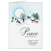 Friend and wife, Christmas scene with reindeer Card