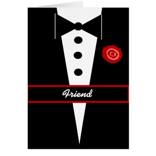 FRIEND  Be My Groomsman Card with Tux & Rose