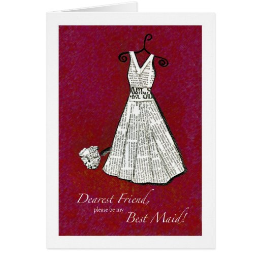 Friend Best Maid - Newspaper Vintage Dress Card