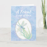 "Friend Birthday Blue Dragonfly Watercolor Art Card<br><div class=""desc"">A Friend is one of those special people you meet along the way that help you appreciate the journey.  Beautiful blue dragonfly watercolor  for someone who loves dragonflies,  gardens and ponds</div>"
