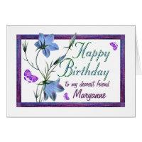 Friend Birthday Bluebells and Butterflies Card