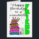 "Friend Birthday Card, Crazy Cake, Cake Birthday Ca Card<br><div class=""desc"">Friend Birthday Card,  Crazy Cake,  Cake Birthday Card</div>"