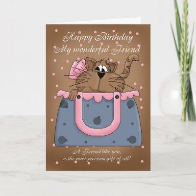 Friend Birthday Card - Cute Cat Purse Pet from Zazzle.c