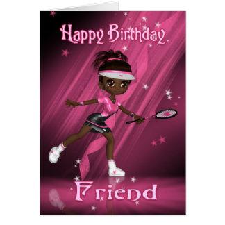 Friend Birthday Card Tennis Player - African Ameri