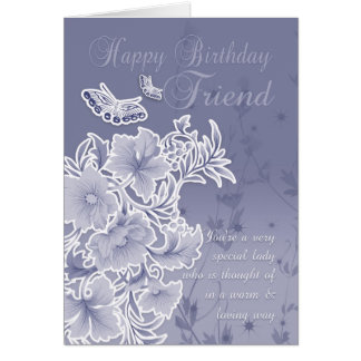 Friend, Birthday Card With Flowers And Butterflies