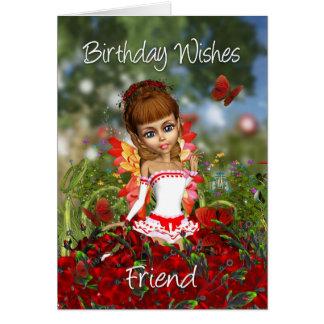 Friend Birthday Card With Poppy Meadow Fairy - Bir