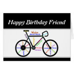 Friend Birthday Motivational Bike Bicycle Cycling Greeting Card