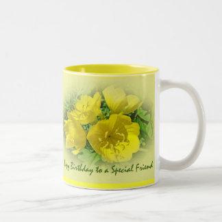 Friend Birthday Yellow Primroses - Sundrops Two-Tone Coffee Mug